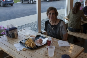320-2502 Portsmouth NH Lynne with Lobster Roll at Beach Plum